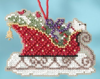 Evergreen Sleigh Ornament - Christmas Cross Stitch Kit - Mill Hill Sleigh Christmas Ornament beaded counted cross stitch charm
