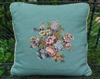Needlepoint Pillow, Large. Floral Petit Point Pillow. Vintage 1940s. Aqua Blue, Roses Flowers. Cottage, Shabby Chic, French, Summer Decor.