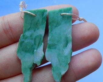 Nugget China Jade Earring Beads,42x15x3mm,7.2g