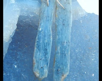 New,Nugget Blue Kyanite Gemstone Earring Bead,45x9x3mm,6.7g