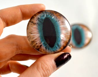 40mm Extra Large Teal and Brown Cat Glass Eyes Pair for Jewelry Making or Art Doll Sculptures Big Eyeball Flatback Domed Circle Cabochons