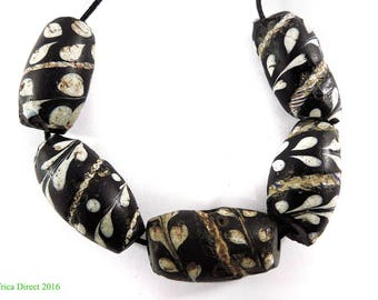 5 Lewis and Clark Venetian Trade Beads Black Floral Africa 109548