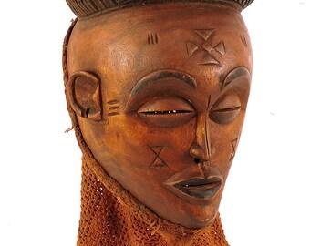 Chokwe Mask Mwana Pwo Red Headdress Congo African Art 102522