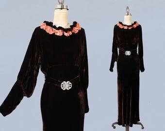 1930s Dress / 30s NRA Label Chocolate Liquid Silk Velvet Gown / Velvet Flower Neckline! / Bishop Sleeves / Deco Belt