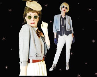 Cropped Jacket from the 40s Swing Era is a Short Summer Jacket that has Rhinestone Trim, a Light Bolero with Boxy Styling