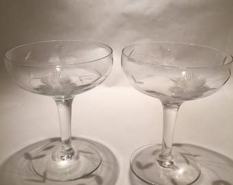 Pair of Vintage Champagne Coupes