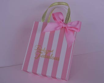 Pink on pink stripe party favor bags for any occasion