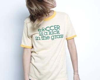 vintage SOCCER t-shirt top RINGER faded soft tri-blend vintage 80s top
