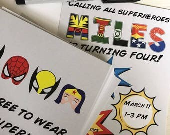 SUPERHERO THEME INVITATIONS-Digital file