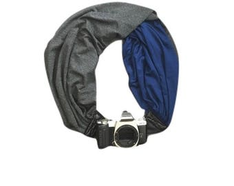The Original Camera Scarf Strap With Pocket - 2 Sided/Reversible Charcoal Gray and Blue