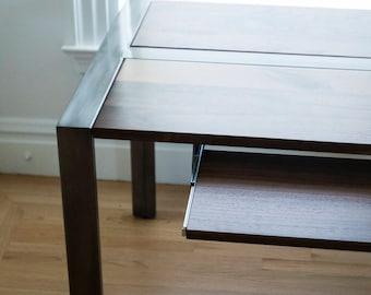 Walnut Desk with Keyboard Trays, Steel Frame, Custom, 'Zeeva' Series