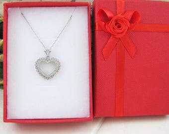 Micro CZ heart sterling silver necklace
