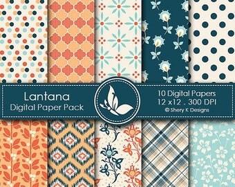 40% off Lantana Paper Pack - 10 printable Digital Scrapbooking papers - 12 x12 - 300 DPI