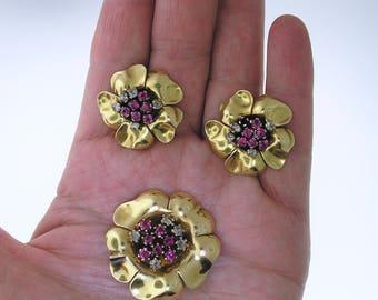 Vintage Earrings and Brooch~18k Ruby Diamond Earrings and Brooch Flower Motif
