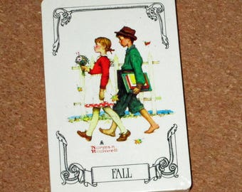 Vintage NORMAN ROCKWELL FALL Deck Playing Cards Norman Rockwell Unopened
