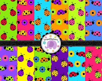 40% OFF SALE Rainbow Lady Bug Digital Paper Pack - Lady Beetle Digital Scrapbook Paper - Spring Digital Paper - Instant Download