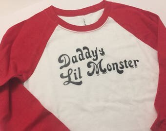 Baby Toddler Girls Harley Quinn Costume  T Shirt 4T 5T 4/5 6  7/8 White and Red tee Shorts sold separately daddy's lil monster