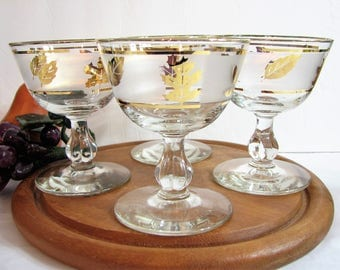 "Champagne Glasses, Vintage Frosted Libbey GOLDEN FOLIAGE / Gold Leaf Glassware, 4 3/8"" 7oz Stemware, CHOICE: Set of 4 or 8, Cocktails"