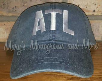 FREE SHIPPING - ATL Airport Code Hat - Atlanta Airport Code Baseball Hat - Atlanta International Airport Cap - Georgia Hat- Personalized Hat