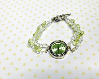 Fashion watch/Bracelet silver tone, clear & Green beads, vintage inspired, item no L119