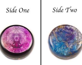 2 Sided Orgonite® with Auralite, Moldavite, Tibetan Petalite Phenacite & Fluorite Crystals, Elite Shungite,  Selenite, Tourmaline (e34)