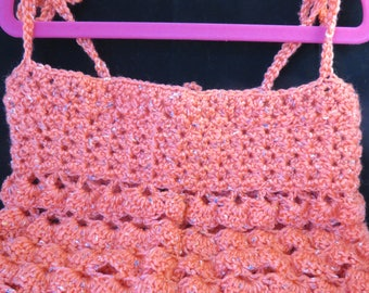 Crochet Peach Toddler Tank Top-5T