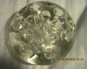 Vintage Clear Glass Paper weight & Pen Holder