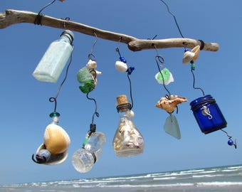 Vintage Bottle and Seashell Mobile