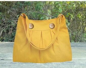 On Sale 20% off Golden cotton canvas travel bag / shoulder bag / messenger bag / diaper bag / cross body bag