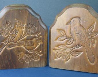 Vintage Carved Wooden Bookends In Bird Themes with Brass Metal Base - Made in Taiwan