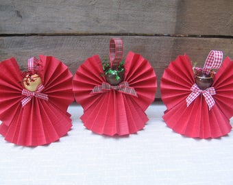 Red Paper Angel / U-Pick Trim Ribbon / Paper Ribbon Angel / Farmhouse Christmas / Red Tree Decor / Angel Collector / Secret Santa Gift