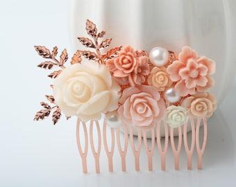 Bridal hair comb, Blush pink peach Rose gold  hair comb, Pink Hair comb, wedding Headpiece, Rose gold hair accessories, blush and rose gold