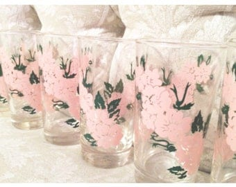 6 Piece Set Of Libby Pink Roses Painted Glasses With Elegant Green Leafs And Clear Glass Orange Juice Glasses By Libby Orange Juice Carafe