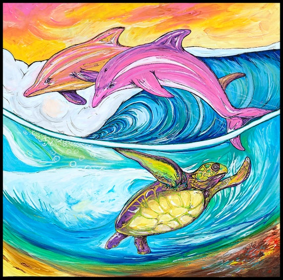 Life in the Waves, 24x24 Giclee Canvas Print