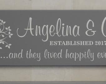 Personalized Family Name Plaque Established Sign with Tree Painted Gray 7x22, Custom Housewarming Gifts  - And They Lived Happily Ever After