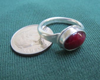 Little Red Ruby in a Classic Sterling Ring, Size 5