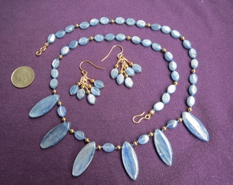 6 Pendant Necklace w Cluster Earrings in Icy Blue Kyanite & Gold Filled