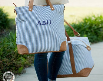 SALE Personalized Monogrammed Seersucker Shoulder Bag-Tote Bag-Purse