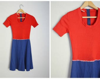 vintage 70s red blue summer knit patriotic nautical 4th of july dress -- womens xsmall- petite 30-23-free