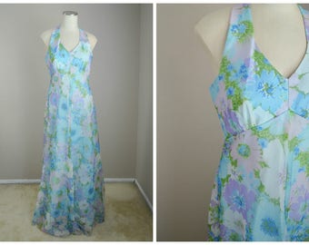 vintage 60s gauzy dreamy floral blue maxi gown dress halter sleeveless dress -- womens 35-28-free