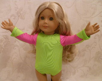 18 Inch Doll Neon Green and Pink Gymnastics Leotard for American Girl Dolls