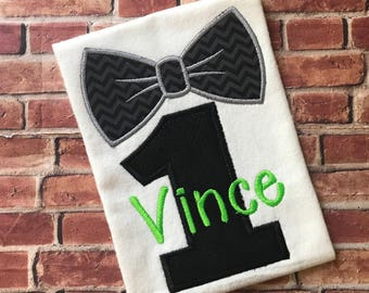 1st, One, Black And Lime Birthday Shirt