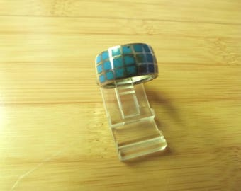 Vintage Native American Style Turquoise Inlay Sterling Silver Cigar Band Ring Size 5 3/4