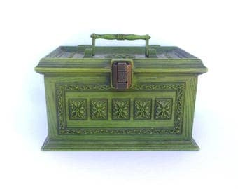 Vintage AVOCADO SEWING BOX