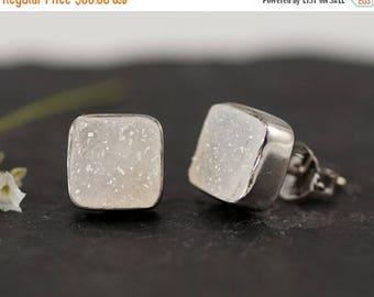 40 OFF - Druzy Stud Earrings - April Birthstone Stud Earrings - Gemstone Studs - Cushion Cut Studs - Silver Stud Earrings - Post Earrings