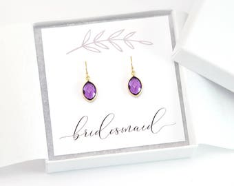 Bridesmaid Thank You Gift, Simple Birthstone Earrings, Dainty Bridal Jewelry, Wedding Gift Ideas, Maid of Honor Gift, Amethyst Gemstone