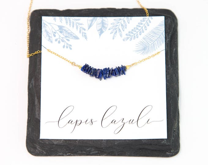 Featured listing image: Natural Lapis Lazuli Bar Necklace, September Birthstone Gift, Rough Crystal Choker, Wire Wrapped Necklace, Birthday Jewelry, Boho Necklace