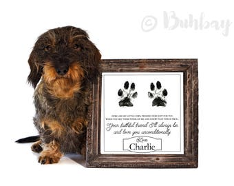 Faithful Friend Poem Gift from Puppy, Dog, Kitten or Cat to Owner - Personalized with your pet's name & paw prints!