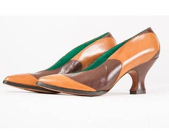 FLASH SALE... Fred Slatten for Totar shoes / Vintage leather spool heeled pointed toe pumps / Exquisite curvy color block heels / 5