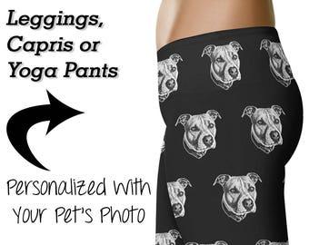 Personalized Pitbull Leggings / Custom Pit Bull Printed Leggings / Yoga Pants / Womens Clothing / Dog Mom / Workout Leggings / Pibble Gift
